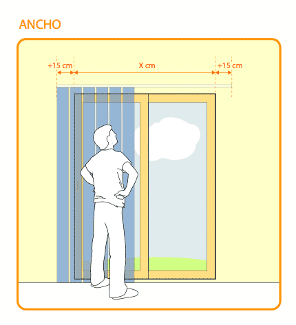 Medicion de lamas verticales for Como poner ganchos cortinas